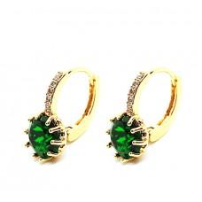 Σκουλαρίκια γυναικεία ορείχαλκος επιπλατινωμένος 617-11πράσινο κρύσταλλο