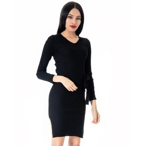 Φόρεμα πλεκτό μαύρο DOCA βαμβάκι και πολυεστέρας 38540 Φορέματα 38540