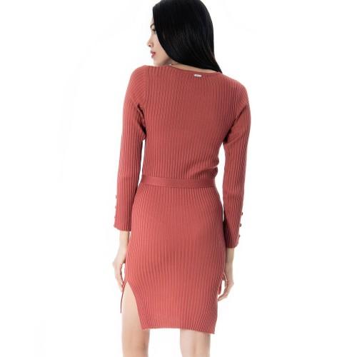 Φόρεμα πλεκτό ροζ DOCA βαμβάκι και πολυεστέρας 38542 Φορέματα 38542