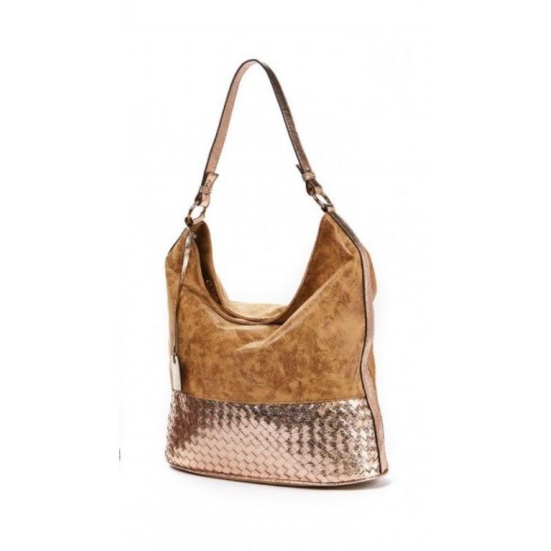 Καθημερινή γυναικεία τσάντα Verde  Χρώμα χρυσό Μεγάλο μέγεθος Προσφορές 16-4476